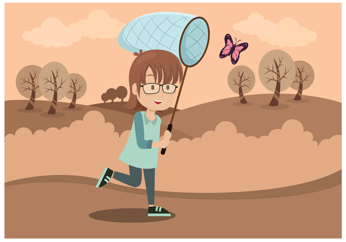 ac7b76b12886 Cute Girl With Butterfly Net Vector - Download Free Vector Art ...