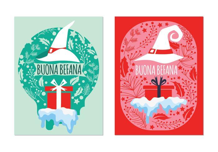 Tarjeta de felicitación de Befana. Tradición Italiana de Navidad