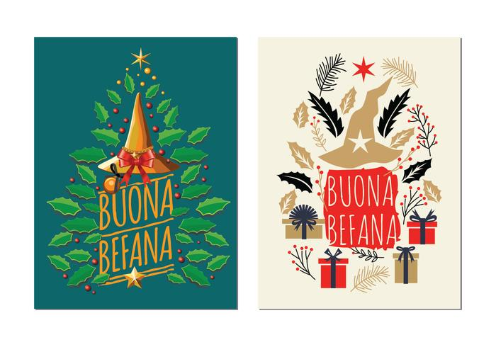 Befana with Christmas Decorations Vector