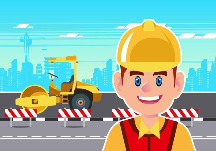 Trabalhador da construção civil com vetor Steamroller