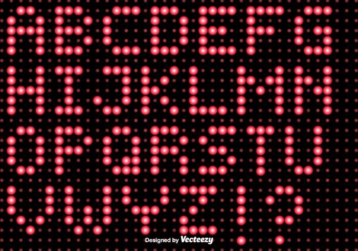 Alfabeto di luci a led vettoriale