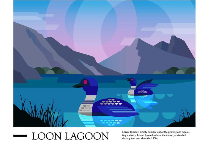 Loon Lagoon Landscape Vector Illustration