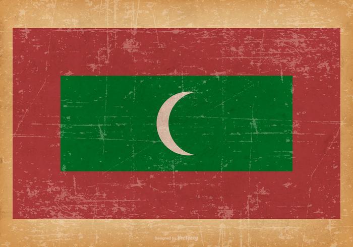 Grunge Bandera de Maldivas vector