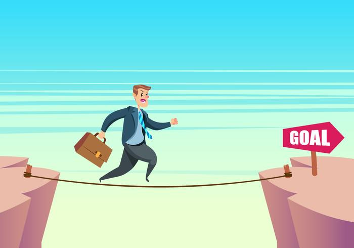 Man Running On Tightrope