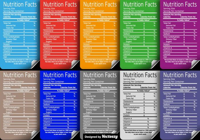 Set Of Vector Nutritional Facts Labels