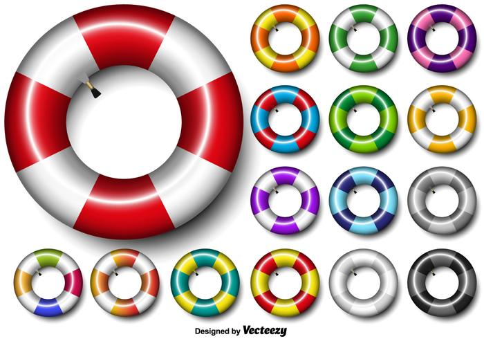 Colorful Vector Set Of Inner Tube 3d Icon