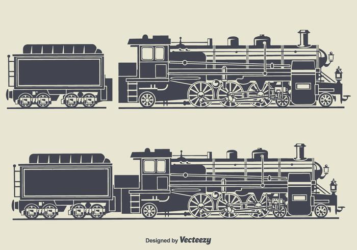 Retro Train Silhouette Vector Illustration