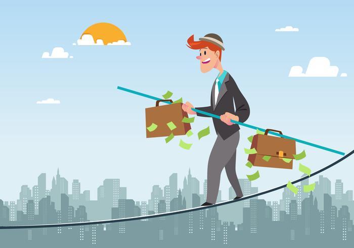 Businessman Walking Tightrope