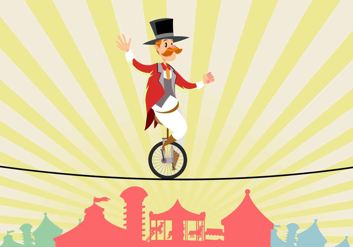 Circus Man On Tightrope Vector - Download Free Vector Art, Stock ...
