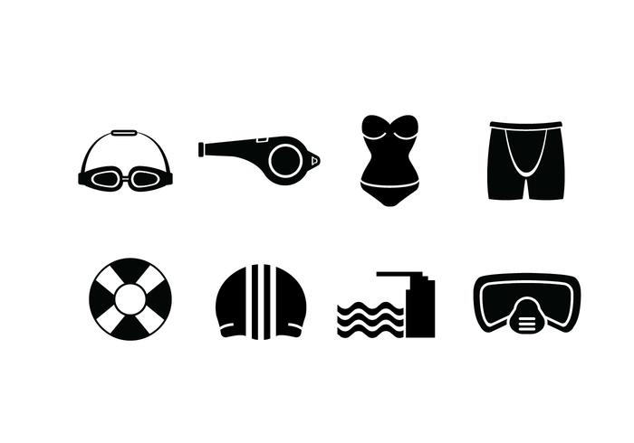 Swimming pool set icons vector