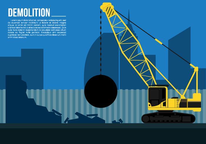 Wrecking Ball Demolition Crane Free Vector