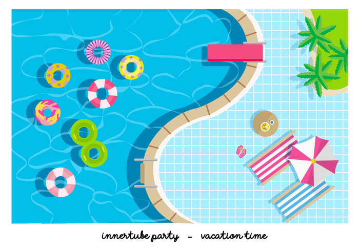 Pool Party Innertube Flat Vector Illustration