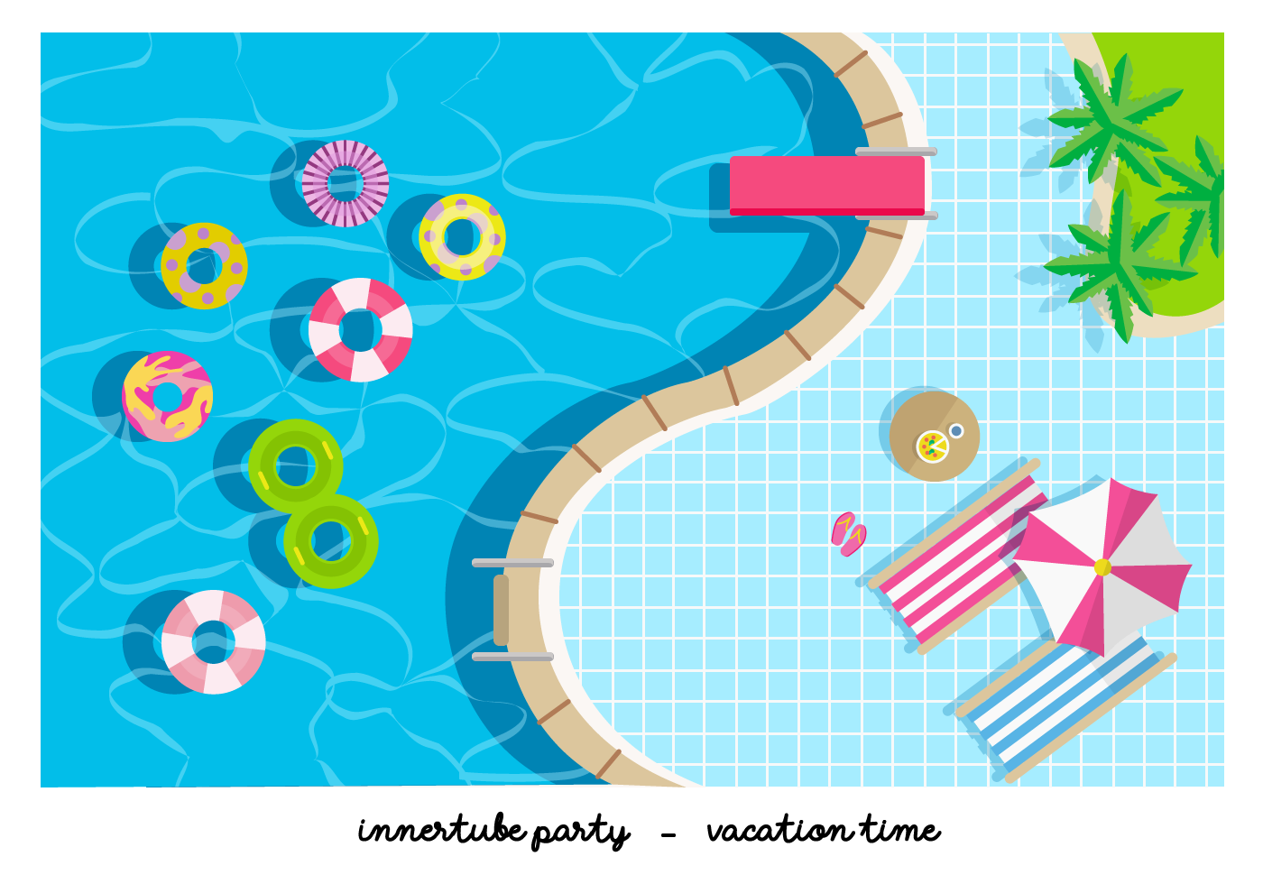 Pool party innertube flat vector illustration download for Pool design graphic