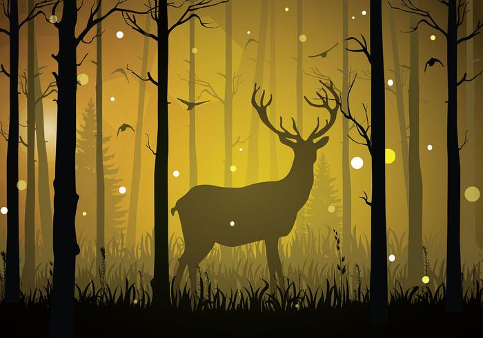 Caribou Silhouette Night Free Vector