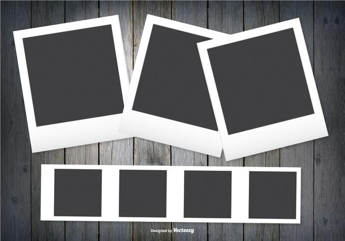 Polaroid Frames on Dark Wood Background