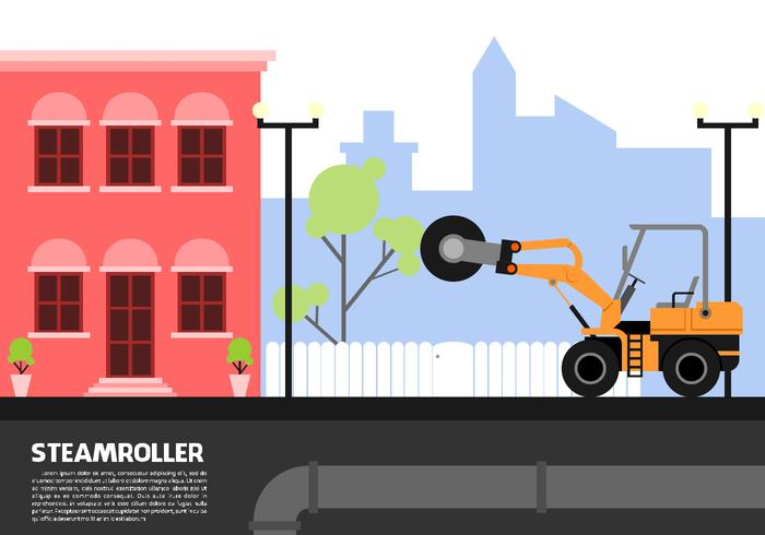 Single Drum Steamroller Free Vector
