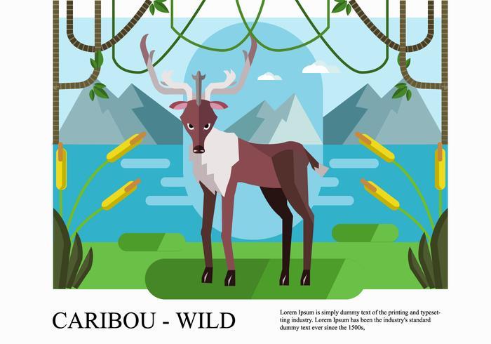 Wildlife Caribou Background Flat Vector Illustration