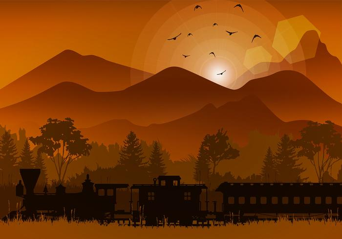 Train in the Sunset Illustration Free Vector