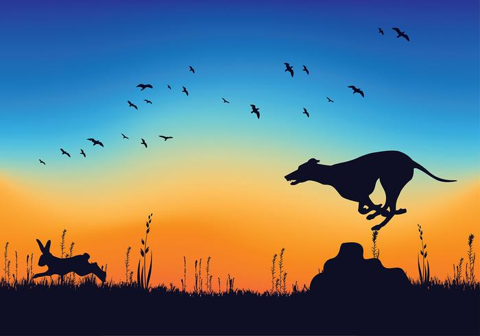 Whippet Chasing Rabbit Silhouette Free Vector