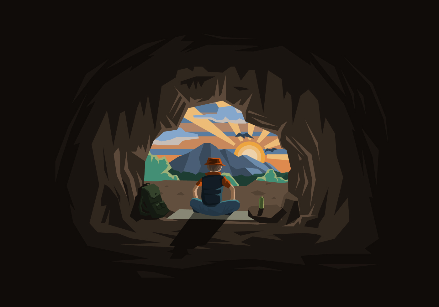 Free Vector Illustration Juniper: Cavern With A Man And Sunset Illustration