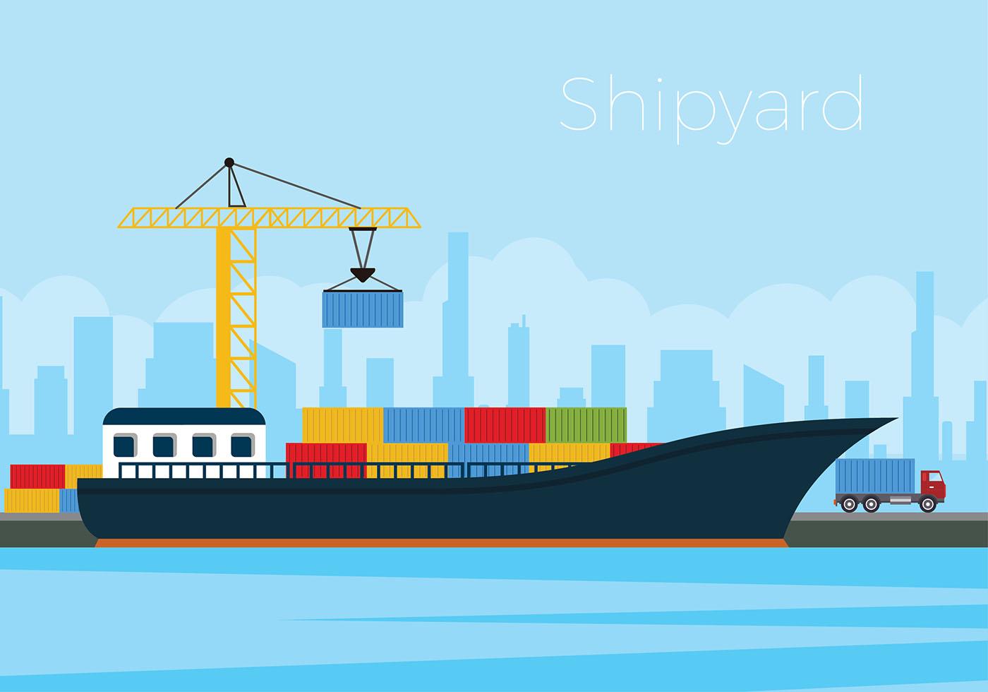 Shipyard Flat Free Vector Download Free Vector Art
