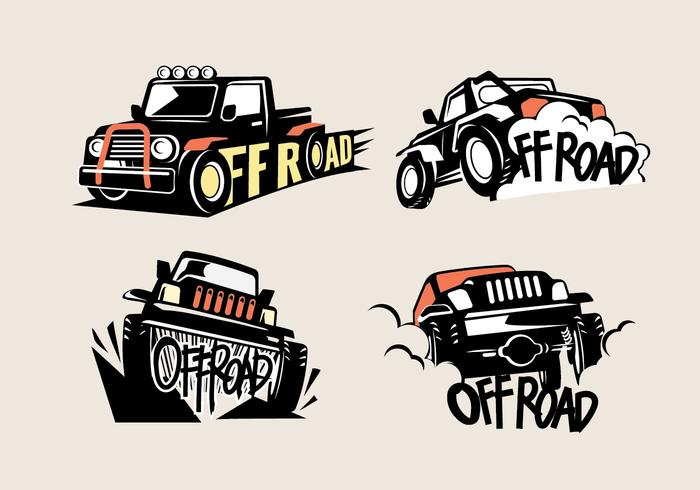 Set Off-road Suv Logos on White Background
