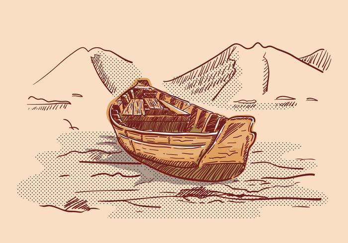 Ilustración del paisaje del barco de la litografía