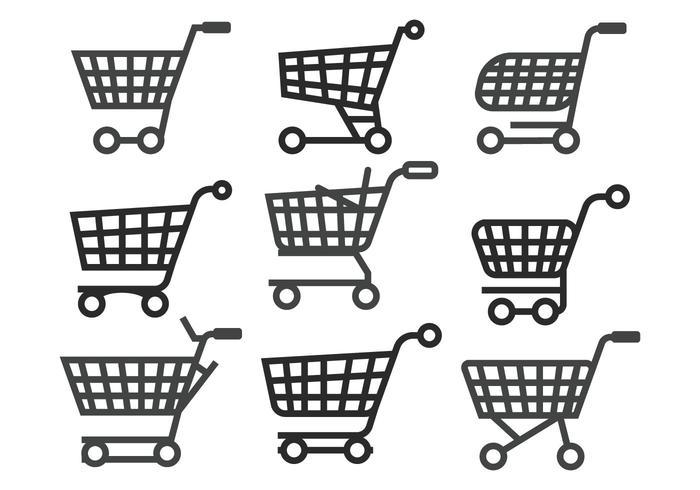Conjunto de vetores de carrinho de supermercado