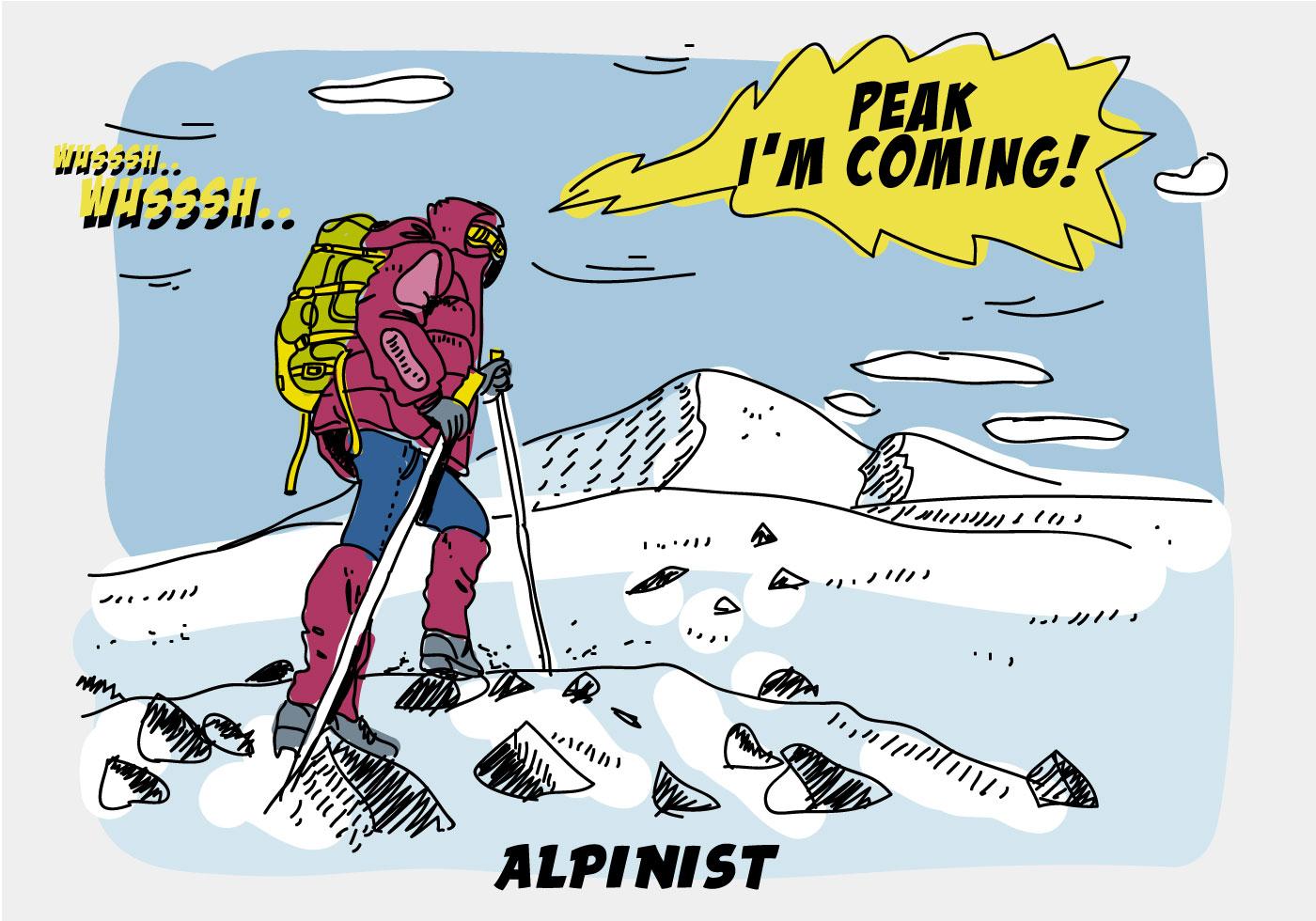 alpinist climbing peak mountain comic hand drawn vector illustration download free vector art. Black Bedroom Furniture Sets. Home Design Ideas