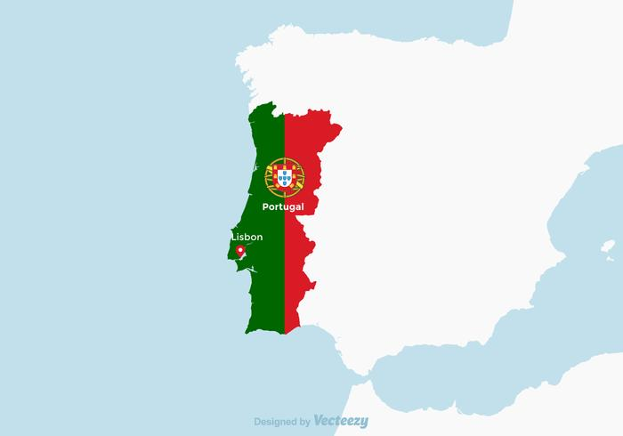 Portugal Map With National Flag
