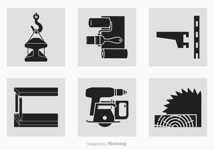 Black Construction Tools Vector Silhouette Icons
