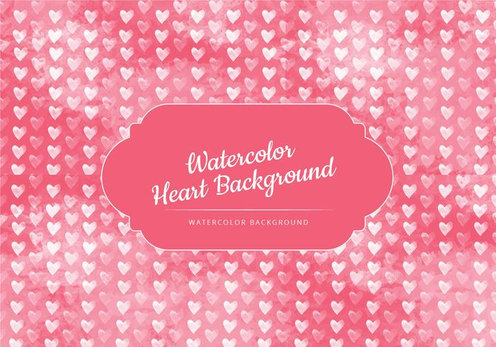 Cute White Hearts Watercolor Vector Background