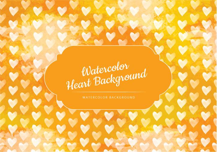Yellow Hearts Watercolor Vector Background