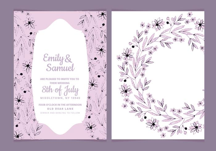 Hand Drawn Flowers Vector Wedding Invitation