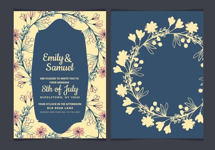 Hand Drawn Flowers Vector Wedding Invitation