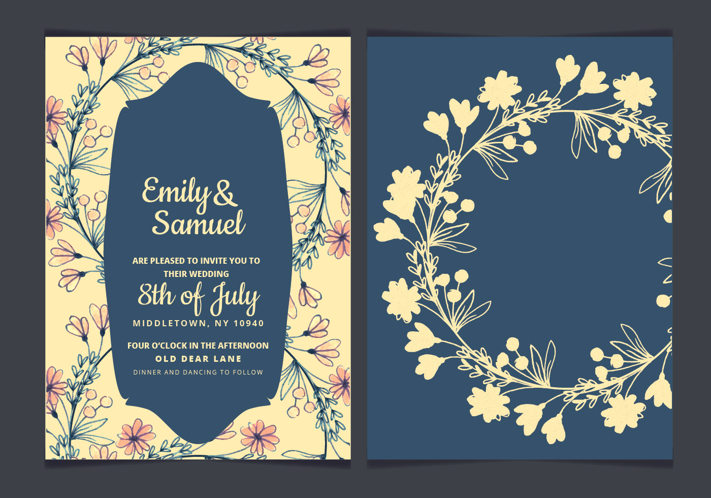 Vector Wedding Invitations: Hand Drawn Flowers Vector Wedding Invitation