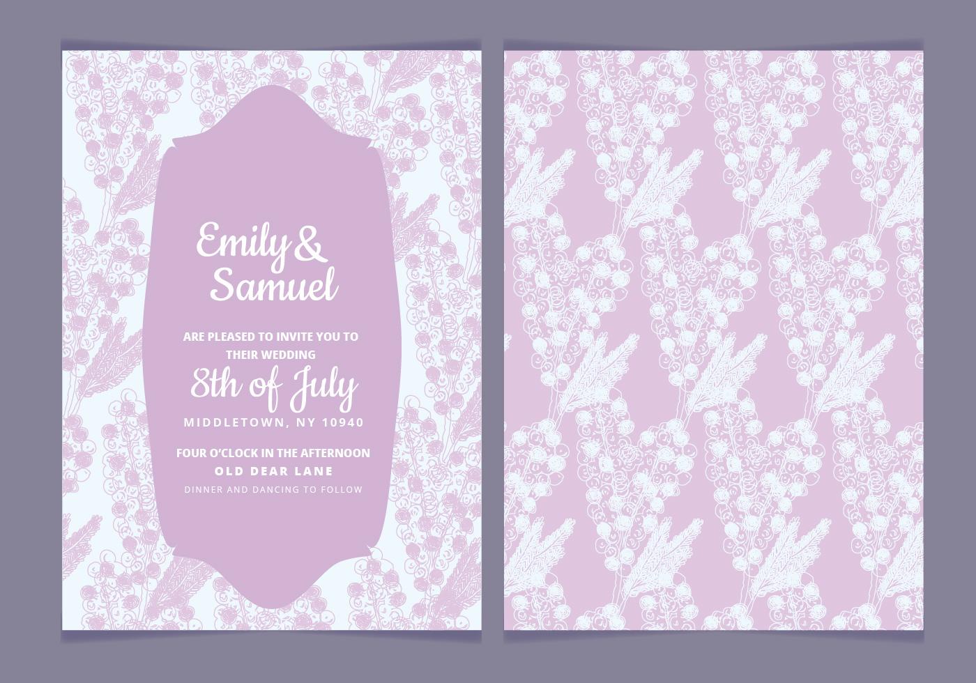 Vector Wedding Invitations: Delicate Vector Wedding Invitation