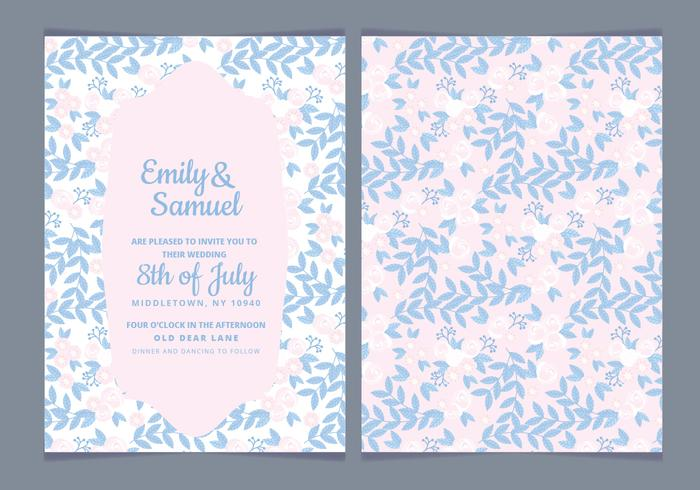 Delicate Vector Wedding Invitation