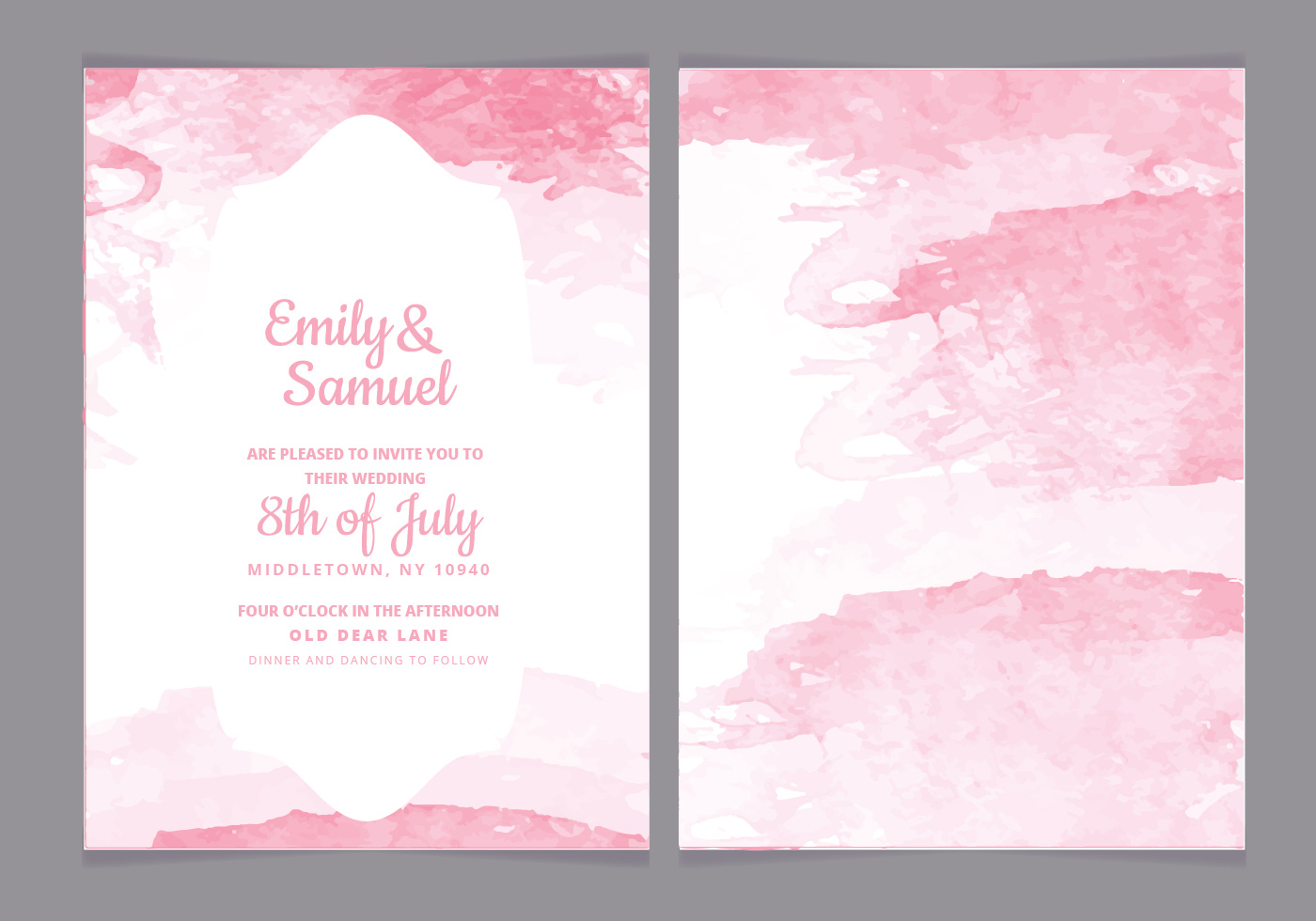 Watercolor Vector Wedding Invitation - Download Free ...