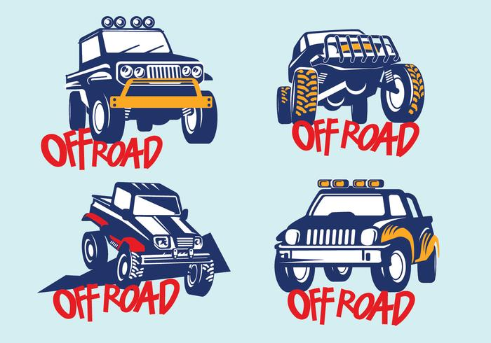 Set Off-road Suv Car on Blue Background