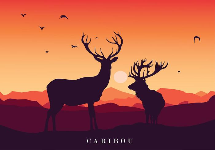 Caribou Sunset Silhouette Free Vector