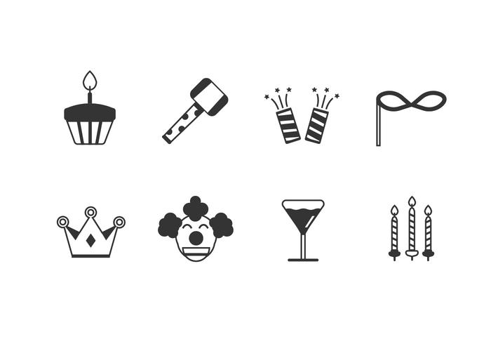 Födelsedagsfest set ikoner