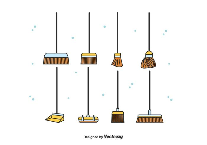Broom Icons Vector Set