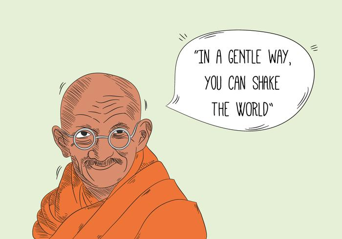 Gandhi Character With Speech Bubble And Quote