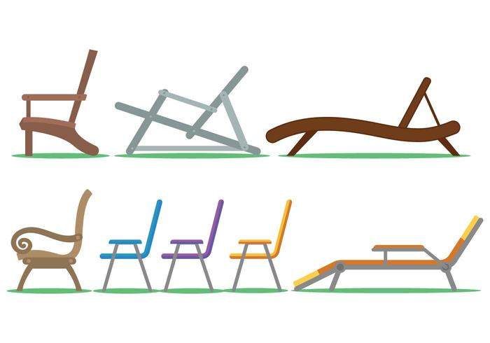 Lawn chair vector set
