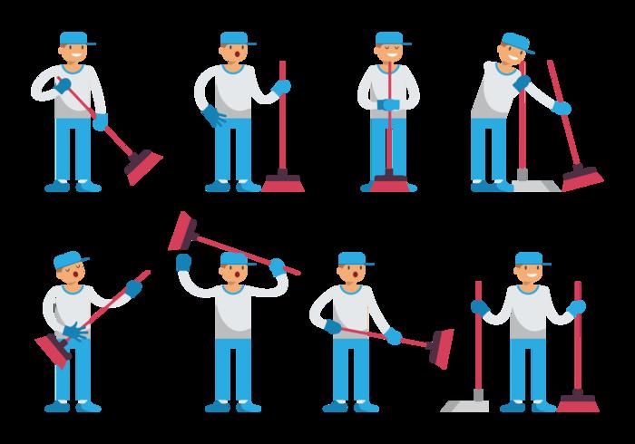 Boy Sweeps Cartoon Vector