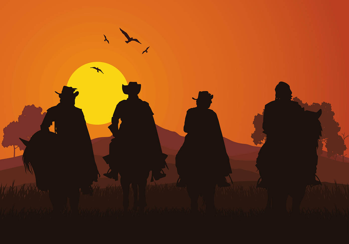 Musketeers Sunset Silhouette Free Vector Download Free