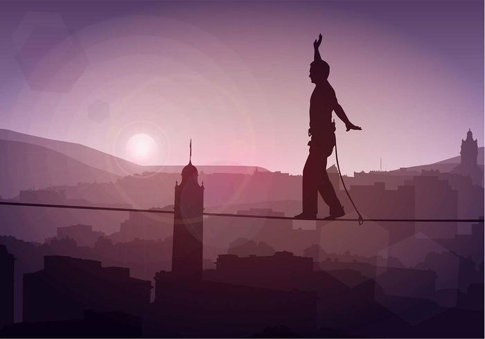 Tightrope SIlhouette Free Vector