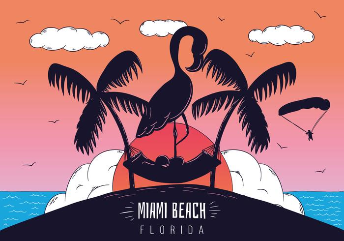 Miami Beach Scene Sunset With Flamingo Silhouette