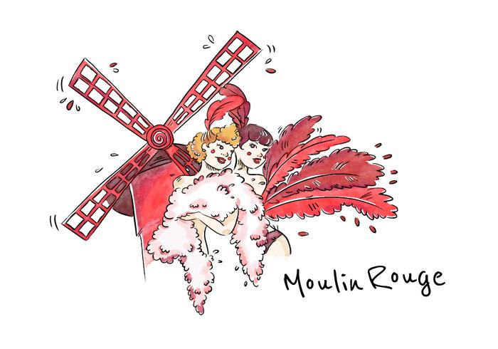 Moulin Rouge Cabaret Woman Vector